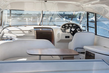 Luxury Yacht Control Wheel And Interior Of A Transport Motorboat