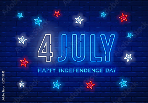 Independence Day Neon Sign Fototapeta
