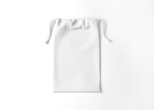 White Drawstring Bag On Backgr...