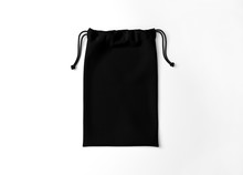 Black Drawstring Bag On White Background. Fabric Cotton Small Bag. Isolated Pouch.