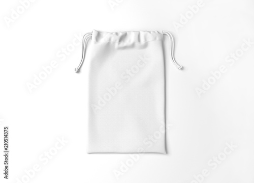 White drawstring bag on background Canvas Print
