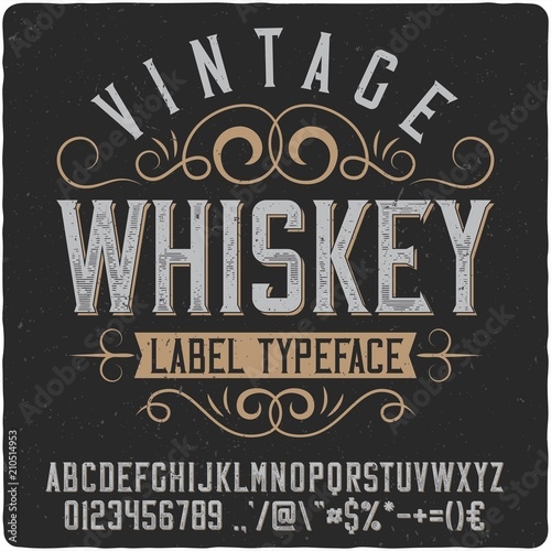 Vintage western label font named Whiskey Canvas Print
