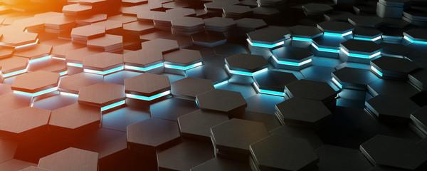 Black blue and orange hexagons background pattern 3D rendering