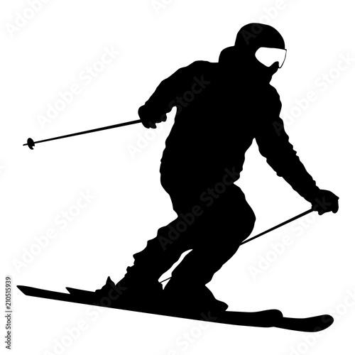 Fotografie, Obraz Mountain skier speeding down slope sport silhouette