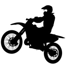 Silhouettes Rider Participates Motocross Championship On White Background