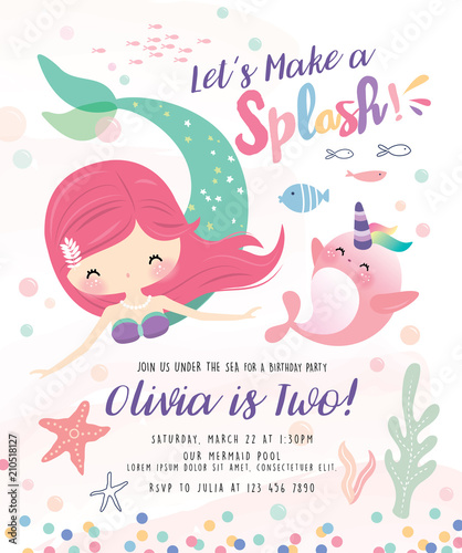 Kids Birthday Party Invitation Card With Cute Little Mermaid