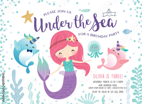 Photographie  Kids birthday party invitation card with cute little mermaid and marine life