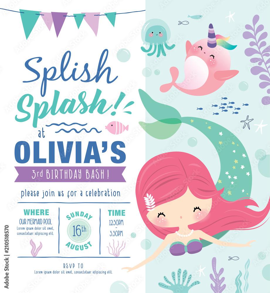 Fotografia Kids Birthday Party Invitation Card With Cute