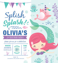 Kids Birthday Party Invitation Card With Cute Little Mermaid And Marine Life