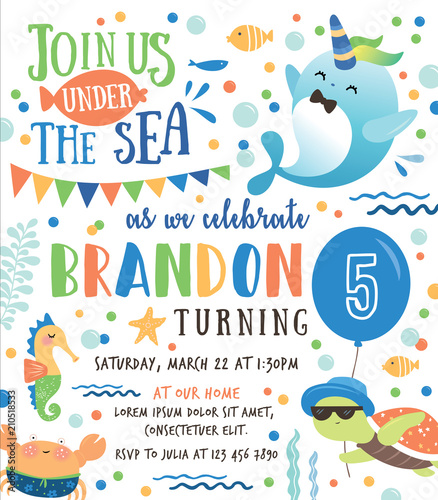Kids Birthday Party Under The Sea Theme Invitation Card With Cute