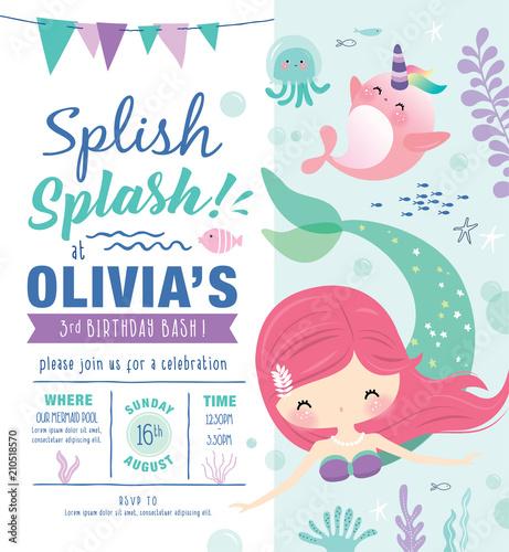 Fototapeta Kids Birthday Party Invitation Card With Cute Little Mermaid And Marine Life