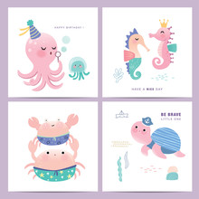 Set Of Cute Little Marine Life Cartoon Character Greeting Cards Design