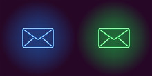 Neon Icon Of Blue And Green Mail