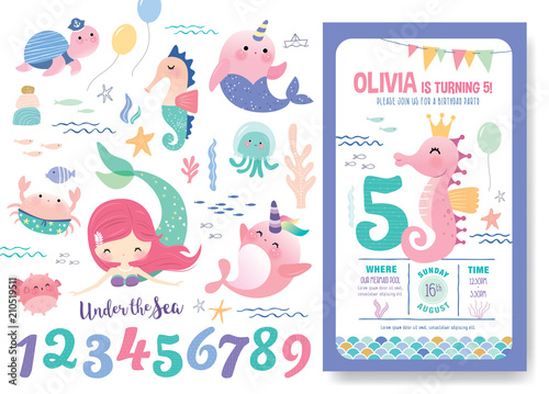 Fototapeta Birthday Party Invitation Card Template With Cute Little Mermaid Marine Life Cartoon Character And Birthday Anniversary Numbers