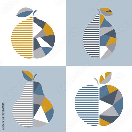 Set of modern geometric fruit illustration. Vector design. Good for printing. - 210521982