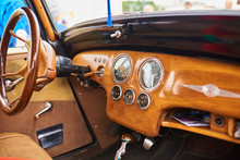 Wooden Interior Of An Old Car