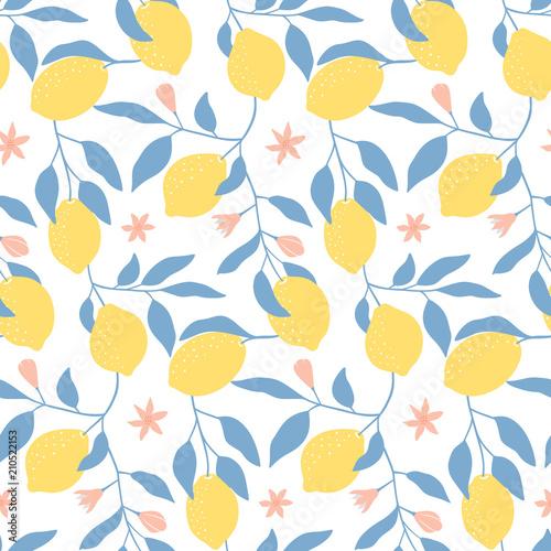 Ręcznie rysowane wzór z świeżych cytryn, liści i kwiatów. Tapeta kolorowe lato. Kolekcja owoców cytrusowych. Tło wektor. Dobry do drukowania.