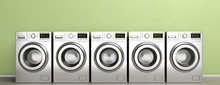 Clothes Washers, Dryer Machines On Wooden Floor, Green Wall Background, Banner. 3d Illustration