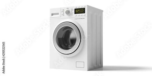 Fotografie, Obraz  Clothes washing, dryer machine isolated on white background