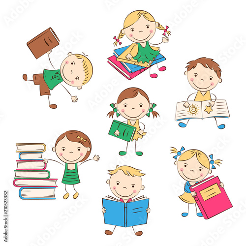 Funny Doodle Kids With Colored Books Happy Cartoon Boys And Girls Education And School Concept Vector Illustration Buy This Stock Vector And Explore Similar Vectors At Adobe Stock Adobe Stock