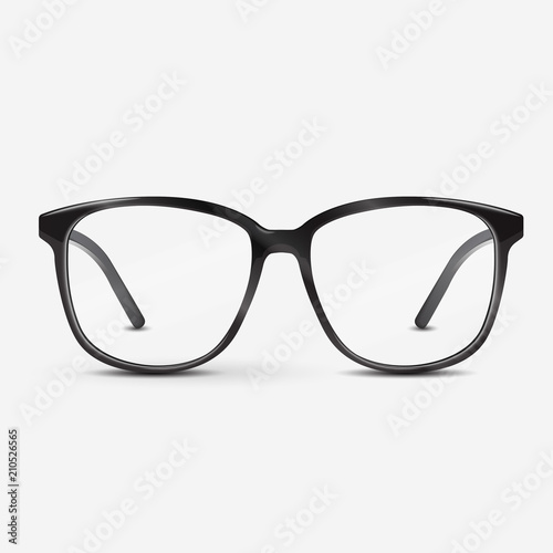 Black optical glasses on white background. Dioptrical Glasses. Ophthalmology concept. Vector Illustration. Wall mural