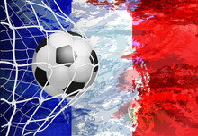 Soccer Goal. French Flag With ...