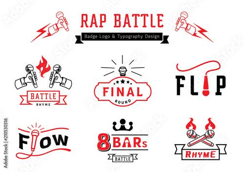 Photo  rap battle badge logo and typography design