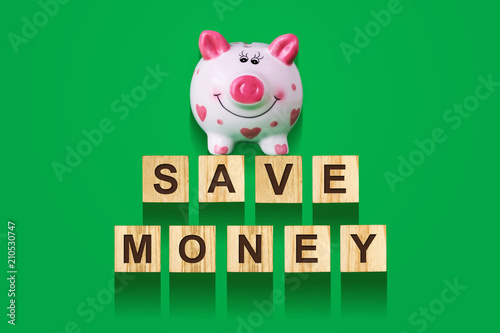 Word Save Money, composed of letters on wooden construction cubes with piggy bank Poster