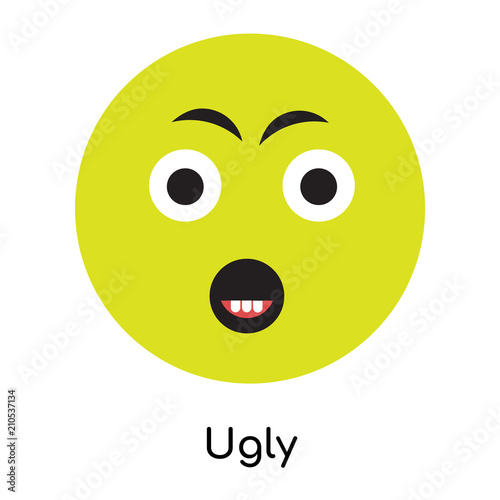 Fotografie, Obraz  Ugly icon vector sign and symbol isolated on white background, Ugly logo concept