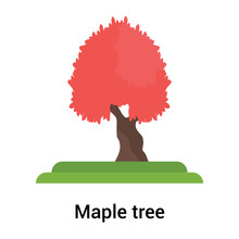 Red Maple Tree Icon Vector Sign And Symbol Isolated On White Background, Red Maple Tree Logo Concept
