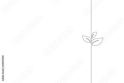 Fotografía Single continuous line art growing sprout
