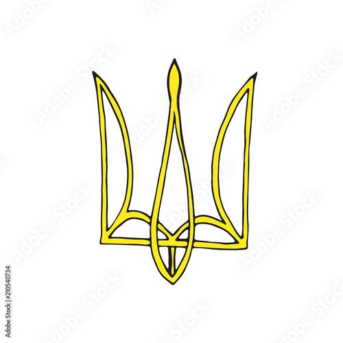 Ukrainian emblem. Trident icon. Vector. Fototapeta