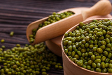 Fresh Mung Beans On A Rustic Wooden Background