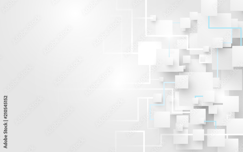 Abstract white squares and lines background. Futuristic and technology concept