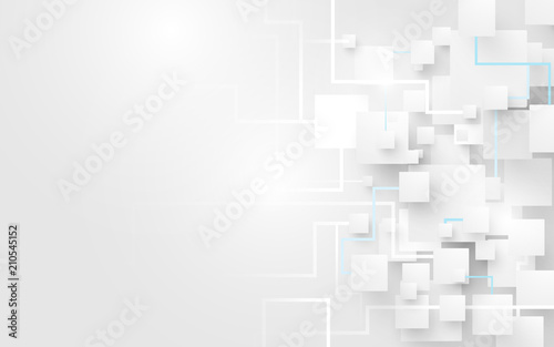 Obraz Abstract white squares and lines background. Futuristic and technology concept - fototapety do salonu