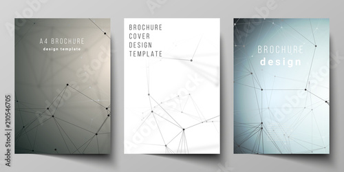 Fotografie, Obraz  The vector layout of A4 format cover mockups design templates for brochure, flyer, report