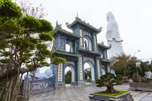 White Guan Yin Buddha Statue At Chua Linh Ung Bai But Temple, Da Nang, Vietnam.