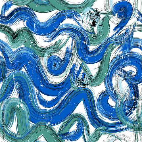 abstract background composition, with waves, paint strokes and splashes, seamless pattern
