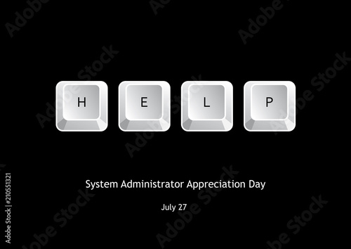 System Administrator Appreciation Day vector. Vector illustration keyboard keys. Keyboard on a black background. Important day