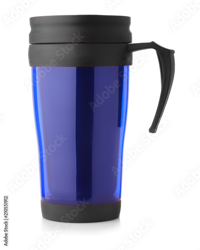 Side view of blue thermo mug