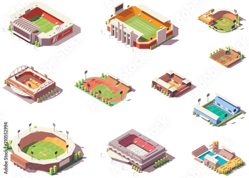 Fototapeta Vector isometric stadiums set