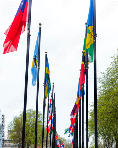 Many different flags street Europe members Union building countries