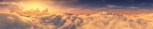 Panorama Of The Sunset Over The Clouds, Top View Of The Clouds, 3D Rendering