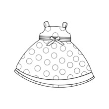 Dress Cartoon Illustration Isolated On White Background For Children Color Book