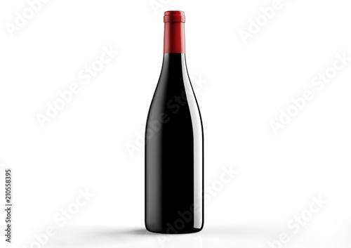 Carta da parati  Borgognotta , bottle  a red wine on white background.
