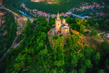 Aerial Sunrise View Of Tsarevets Fortress In Veliko Tarnovo In A Beautiful Summer Day, Bulgaria 2018