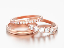 3D Illustration Three Different Red Rose Gold Diamonds Rings