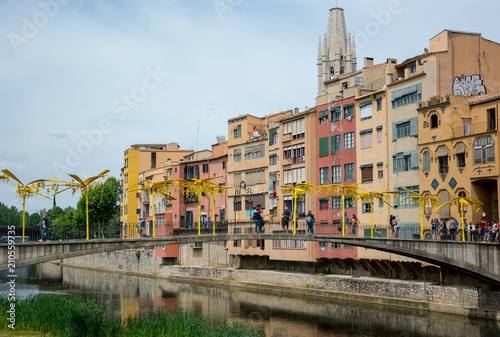 Photo  Editorial. May 2018. Bridge over the river Onyar in Girona, Spain