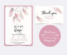 Pink Hand Drawn Cute Card With...