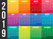 Creative Vector Illustration Of 2019 Year Colorful Calendar Isolated On Transparent Background. Art Design Blank Mockup Template Event Planner. Week Starts Sunday. Abstract Concept Graphic Element